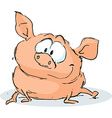 cute pig character sitting on white background vector image vector image