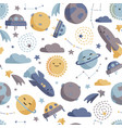 cute space seamless pattern colorful kids vector image vector image