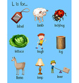 Different words begin with letter L vector image vector image