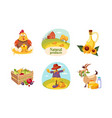 farm animals poultry eco freshy products and vector image vector image