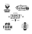 farmers market organic food logo eco badges set vector image vector image