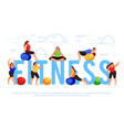 fitness banner template with fitness women vector image vector image