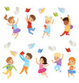 Flat set cute kids throwing books up in