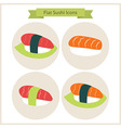 Flat Sushi Set Circle Icons vector image
