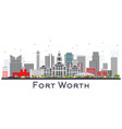 fort worth usa city skyline with gray buildings vector image vector image