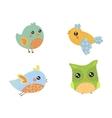 Four Cute Small Birds Collection vector image