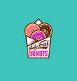 fresh donuts logo color into paper bag vector image