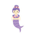girl in mermaid costume with beautiful floral top vector image