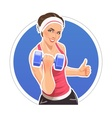 Girl with dumbbells for vector image vector image