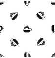 glass teapot pattern seamless black vector image vector image