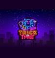 halloween neon billboard trick or treat vector image vector image