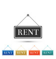 hanging sign with text rent icon isolated vector image vector image