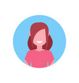 happy brown hair girl face avatar little child vector image vector image