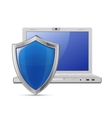 Laptop and blue shield vector image