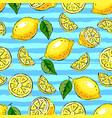 lemon tropics seamless pattern hand-drawn lemons vector image vector image