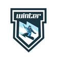 logo for winter sports label stamp snowboarder vector image