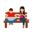 man with laptop and woman cellphone on bench vector image vector image