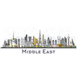 middle east city skyline with color buildings vector image