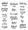 natural cosmetic lettering set vector image
