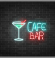 neon cafe and bar sign on a brick wall background vector image vector image