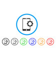 phone setup gear rounded icon vector image