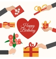 Presents holding hands flat pictograms composition vector image vector image