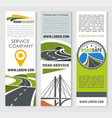 road banner set with highway bridge and tunnel vector image vector image