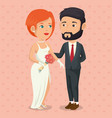 romantic picture of just married couple vector image vector image