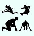 running and jumping sports silhouette vector image