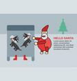 santa claus lulls reindeers for sleeping on the vector image