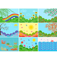 Set of nine various locations and seasons vector image