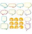 set speech balloon and girl expression vector image vector image