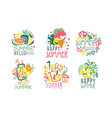 set summer logos with lettering vector image