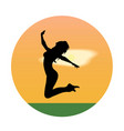 silhouette of a young girl jumping at sunset vector image vector image