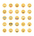 smiley flat icons set 1 vector image vector image