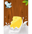 splash of milk with cheese mouse peeking wood vector image vector image