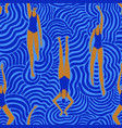 swimming women in surreal waves seamless pattern vector image vector image