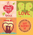 valentine day cards template vector image vector image