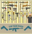weapon banner with men choosing gun and shooting vector image vector image
