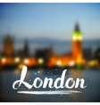 White calligraphy London sign on blurred photo vector image vector image