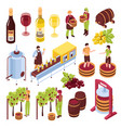 winery isometric set vector image vector image