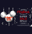Winter sale banner with silver balls top view