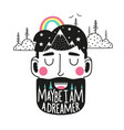 with smiling man head beard doodle mountains vector image vector image