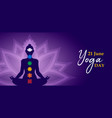 yoga day meditation banner person in lotus pose vector image vector image