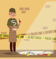 crime scene detective at crime scene flat cartoon vector image