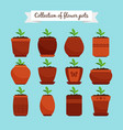 flowerpots with soil and sprouts vector image