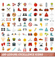 100 leisure excellence icons set flat style vector image vector image