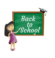 back to school little girl vector image vector image