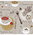 background with soup in ceramic bowl vector image