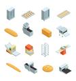 Bakery Factory Isometric Icon Set vector image
